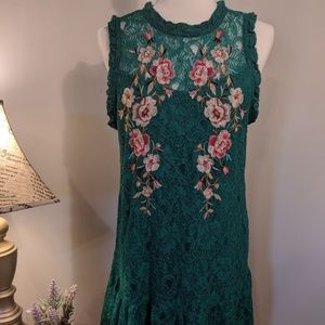 Xhilaration Green Lacey Tank Dress Floral